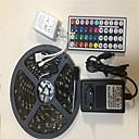 povoljno Fleksibilne LED svjetlosne trake-5m Savitljive LED trake / Setovi svjetala / RGB svjetleće trake 150 LED diode SMD5050 1 44Ključuje daljinski upravljač / 1 x 12V 3A adapter RGB Kreativan / Party / Ukrasno 100-240 V 1set / IP65