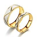 رخيصةأون خواتم-الزوجين خواتم الزوجين خاتم 2pcs ذهبي الفولاذ المقاوم للصدأ الصلب التيتانيوم دائري أساسي موضة خطوبة هدية مجوهرات كوول