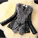 ieftine Becuri LED Plafon-Pentru femei Zilnic De Bază Regular Faux Fur Coat, Mată Răsfrânt Manșon Lung Blană Artificială / PU Negru