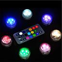 ieftine Lumini & Gadget-uri LED-10 buc baterie impermeabilă acționată cu baterie rgb submersibilă lumina de noapte sub apă submarină lămpi lumini de ceai pentru vase boluri acvariu și petrecere decor de nuntă (conține telecomanda /