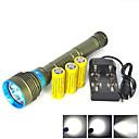 ieftine Lumini Nocturne LED-Lanterne LED Lanterne de Scufundări Rezistent la apă 10000 lm LED emițători 3 Mod Zbor cu Baterii și Încărcătoare Rezistent la apă Profesional Anti-Şoc Rezistent la uzură Camping / Cățărare