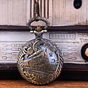 رخيصةأون ساعات النساء-رجالي ساعة جيب كوارتز فينتاج نقش جوفاء إبداعي تصميم جديد تناظري-رقمي عتيق - برونز