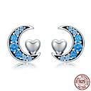 ieftine Ustensile Bucătărie & Gadget-uri-Lună autentică 100% 925 argintiu albastru cz& Cercei cu perne de inimă pentru femei bijuterii din argint sterilizat s925 sce330