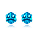 رخيصةأون أقراط-الأزرق مكعب أقراط للنساء 925 الفضة الاسترليني النمساوية حجر الراين القرط الزفاف والمجوهرات الكورية