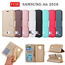 رخيصةأون Samsung أغطية / كفرات-غطاء من أجل Samsung Galaxy A6 (2018) محفظة / حامل البطاقات / مع حامل غطاء كامل للجسم لون سادة / قطة / كارتون جلد PU