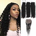 ieftine Cercei-3 pachete cu închidere Păr Peruvian Buclat în Profunzime Păr Virgin 100% pachete Remy Hair Weave Accesoriu de Păr Umane tesaturi de par Extensii 8-20 inch Culoare naturală Umane Țesăturile de par