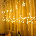 رخيصةأون ملصقات ديكور-1 قطعة 12 نجمة الخماسية بقيادة قطاع ضوء سماء زرقاء أضواء مصباح الستار الشلال الجليد فانوس الطوق الزخرفية 8 وسائط فلاش