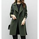 رخيصةأون ساعات النساء-نسائي مناسب للبس اليومي أساسي طويلة معطف, لون سادة طوي كم طويل بوليستر أسود / أخضر / كاكي