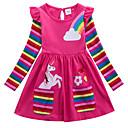 رخيصةأون أطقم ملابس البنات-فستان فوق الركبة كم طويل طباعة هندسي / حيوان رياضي Active للفتيات أطفال