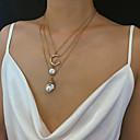 ieftine Cercei-Pentru femei Coliere cu Pandativ Lănțișor Coliere Layered Clasic Modă Perle Articole de ceramică Crom Auriu 40 cm Coliere Bijuterii 1 buc Pentru Cadou Zilnic Carnaval Concediu Festival
