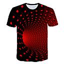 Недорогие Мужские футболки и майки-Муж. С принтом Футболка Классический / Уличный стиль Геометрический принт / Контрастных цветов / 3D Черный