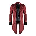 رخيصةأون معطف مطر-رجالي مناسب للبس اليومي أساسي خريف & شتاء طويلة ترانش كوت, ألوان متناوبة مرتفعة كم طويل بوليستر بقع أسود / أحمر