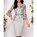 ieftine Maieu & Tricouri Bărbați-Pentru femei Elegant Dantelă Zvelt Bodycon Rochie - Dantelă, Geometric Lungime Genunchi