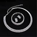 ieftine Seturi de Bijuterii-Pentru femei Transparent Diamant sintetic Cercei Rotunzi Lănțișor Brățară Geometric European cercei Bijuterii Argintiu Pentru Nuntă 1set / Seturi de bijuterii de mireasă