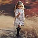 Недорогие Платья девушки-Дети Девочки Гусиная лапка С принтом Длинный рукав До колена Платье Бежевый