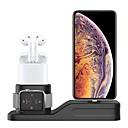 voordelige Apple Watch-bevestigingen & -houders-oplaadstandaard compatibel met apple watch series1 / 2/3/4 3 in 1 siliconen laadstation dock ondersteuning nachtkastje modus past iwatch 38mm-44mm airpods geschikt voor iphone xs / xs max / xr / 8/8