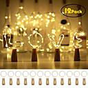 ieftine Benzi Lumină LED-12 buc 20 leduri sticla de vin lumini de cupru sârmă de zână ușoară cald alb sticlă dop operă atmosferă pentru Crăciun Crăciun festival de vacanță DIY acasă petrecere decorare cadou prezent