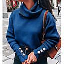 povoljno Bojano-Žene Jednobojni Dugih rukava Pullover Džemper od džempera, Dolčevita Lila-roza / Svijetlosiva / Plava S / M / L