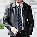 povoljno Muške jakne-Muškarci Dnevno Normalne dužine Bőrkabátok, Jednobojni Kragna košulje Dugih rukava PU Crn / Braon