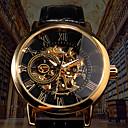 ieftine Ceasuri Damă-Bărbați ceas mecanic Mecanism automat Stil Oficial PU piele Negru / Maro 30 m Gravură scobită Iluminat Analog Lux Modă Schelet - Negru Negru / Alb Auriu+Negru / Oțel inoxidabil