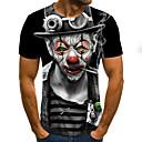 cheap Men's Tees & Tank Tops-Men's Weekend Street chic T-shirt - 3D / Cartoon / Portrait Pleated / Print Black