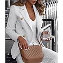 cheap Men's Tees & Tank Tops-Women's Blazer Notch Lapel Polyester Black / White / Blue