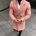 povoljno Muške jakne-Muškarci Dnevno Jesen zima Normalne dužine Kaput, Jednobojni Klasični rever Dugih rukava Najlon Crn / Blushing Pink / Vojska Green