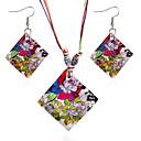 ieftine Seturi de Bijuterii-Pentru femei Seturi de bijuterii de mireasă Geometric Floare Stilat Scoică cercei Bijuterii Curcubeu Pentru Petrecere 1set / Cercei