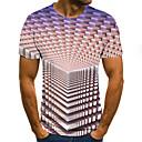 رخيصةأون تيشيرتات وتانك توب رجالي-رجالي أناقة الشارع مطوي / طباعة تيشرت, هندسي / ألوان متناوبة / 3D