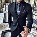 cheap Tuxedos & Suits-Black / Light Grey / Gray Solid Colored Slim Fit Polyester Suit - Notch Single Breasted Two-buttons