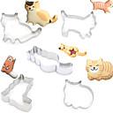 ieftine Ustensile & Gadget-uri de Copt-5 buc diferite formă de pisică prăjituri tăietoare formă de tort biscuit din oțel inoxidabil