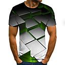 Недорогие Мужские футболки и майки-Муж. С принтом Футболка Уличный стиль / Панк & Готика Контрастных цветов / 3D / Графика Цвет радуги