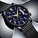 رخيصةأون ساعات النساء-رجالي ساعات حزام معدني كوارتز ستانلس ستيل جلد طبيعي أسود تاريخ اليوم مماثل أنيق الحد الأدنى - أسود ذهبي / أزرق أسود / أزرق