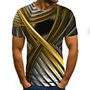お買い得  メンズTシャツ&タンクトップ-男性用 プリーツ / プリント Tシャツ ストリートファッション カラーブロック / 3D / グラフィック ゴールド
