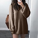 povoljno Kvarcni satovi-Žene Jednobojni Dugih rukava Pullover Džemper od džempera, Okrugli izrez Crn / Blushing Pink / Plava S / M / L