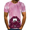 ieftine Benzi Lumină LED-Bărbați Tricou Rock / Șic Stradă - Bloc Culoare / #D / Animal Imprimeu Roz Îmbujorat