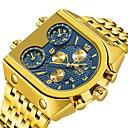 povoljno Muški satovi-Muškarci Nehrđajući čelik Japanski Japanski kvarc Sportski Nehrđajući čelik Srebro / Zlatna 30 m Vodootpornost Kalendar Sat s dvije vremenske zone Analog Moda Vojska - Zlatna Zlatni + crna Gold
