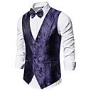 povoljno Muški sakoi i odijela-Muškarci Mellény, Geometrijski oblici V izrez Poliester Crn / purpurna boja / Bijela
