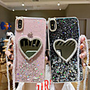 رخيصةأون أغطية أيفون-غطاء من أجل Apple iPhone XS / iPhone XR / iPhone XS Max حجر كريم / مرآة / شفاف غطاء خلفي قلب / شفاف / بريق لماع TPU