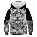 ieftine Cercei-Copii Băieți Activ Șic Stradă Tigru Imprimeu #D Animal Imprimeu Manșon Lung Hanorac Negru