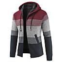 povoljno Muški džemperi i kardigani-Muškarci Prugasti uzorak Dugih rukava Kardigan Džemper od džempera, S kapuljačom Svijetlosiva / Plava / Red US36 / UK36 / EU44 / US38 / UK38 / EU46 / US40 / UK40 / EU48