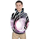 tanie Koszulki i tank topy męskie-Dzieci Brzdąc Dla chłopców Aktywny Podstawowy Czarno-biały Fantastyczne zwierzęta Prążki Kolorowy blok 3D Nadruk Długi rękaw Bluzy Tęczowy