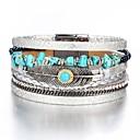 voordelige Fijne Sieraden-Heren Dames Lederen armbanden Klassiek Veer Modieus Folk Style PU Armband sieraden Zilver Voor Lahja Dagelijks Werk
