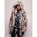povoljno Muške jakne-Muškarci Dnevno / Izlasci Ulični šik / Sofisticirano Jesen zima Normalne dužine Faux Fur Coat, Color block S kapuljačom Dugih rukava Umjetno krzno Deva