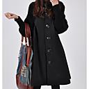 povoljno Men's Winter Coats-Žene Dnevno Zima Dug Kaput, Jednobojni Dolčevita Dugih rukava Poliester Crn / Red / Sive boje