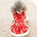 ieftine USB-uri-Pisici Câine Rochii Îmbrăcăminte Câini Rosu Costume Bumbac S M L XL