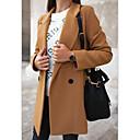 povoljno Men's Winter Coats-Žene Dnevno Jesen zima Dug Kaput, Jednobojni Kragna košulje Dugih rukava Poliester Crn / Svijetlosiva / Žutomrk