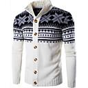 povoljno Men's Winter Coats-Muškarci Geometrijski oblici Dugih rukava Kardigan Džemper od džempera, Okrugli izrez Crn / Obala / Tamno siva US32 / UK32 / EU40 / US34 / UK34 / EU42 / US36 / UK36 / EU44