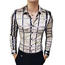 رخيصةأون قمصان رجالي-رجالي أناقة الشارع / أنيق طباعة قميص, هندسي / ألوان متناوبة / الرسم