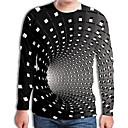 voordelige Heren T-shirts & tanktops-Heren Street chic / overdreven Geplooid / Print Grote maten - T-shirt Geometrisch / 3D Ronde hals Zwart / Lange mouw